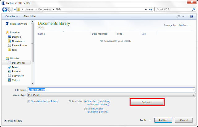 Click Options button in Publish as PDF or XPS file browser dialog