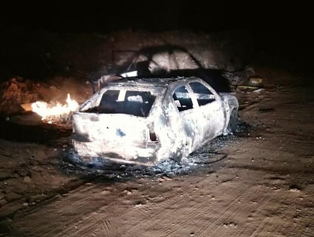 Carro é furtado e encontrado incendiado pouco depois em Passos (Foto: Hélder Almeida)