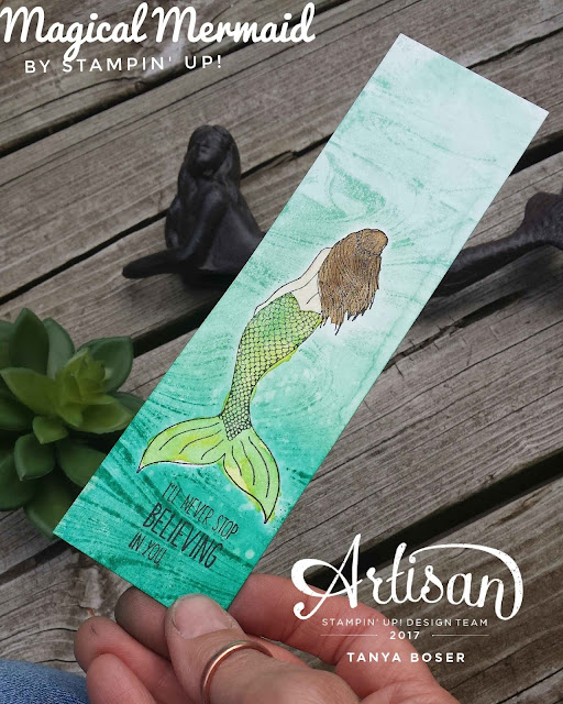 Magical Mermaid used with the Marbled background stamp from Stampin' Up! makes this sweet bookmark come to life! Tanya Boser-Stampin' Up! demonstrator tinkerin-in-ink.blogspot.com