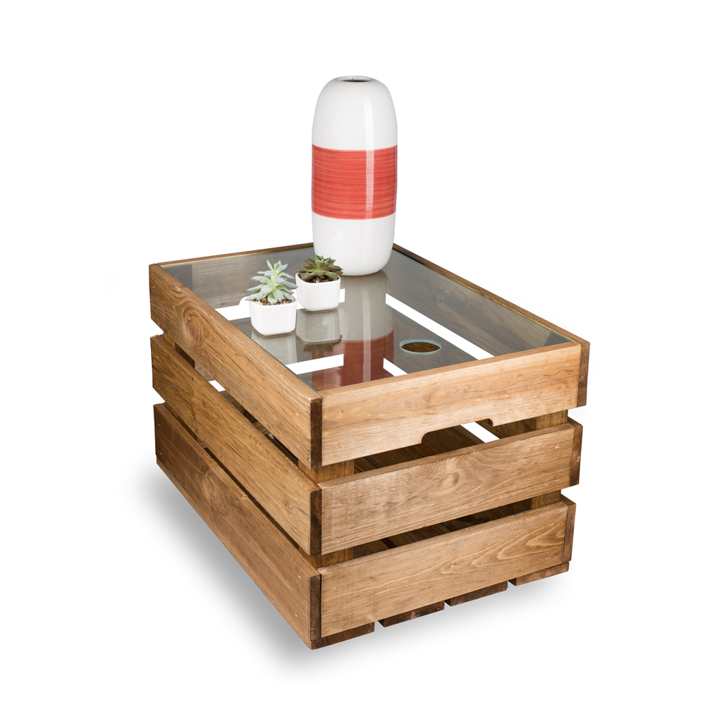 original bestloft kiste glas couchtisch beistelltisch. Black Bedroom Furniture Sets. Home Design Ideas