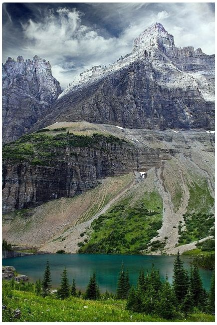 Iceberg Lake, Montana. Iceberg Lake Trail is one of the best hiking trails in Glacier Park. Spectacular views of mountains, wildflower meadows and an iceberg filled lake.