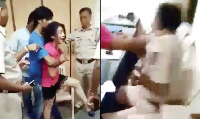 A 21-year-old student, Gauri Bhide, ransacked a Mumbai police station, slapped and abused police officials.  The video of the incident, which  occurred on June 16, has gone viral now. It shows her kicking things around at the Worli police station and assaulting a few of the officials as her friends try to restrain her.  On June 16, at about 2 am, Gauri Bhide rammed her car into a divider near Podar Hospital. The police, who visited the spot found her, along with three friends, Chirag Bhothra (21), Kapil Rathod (21) and a minor who cannot be named, drunk.