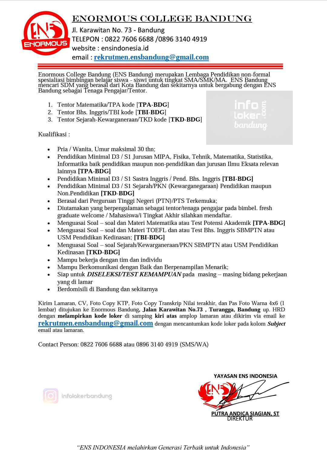 Lowongan kerja Enormous College Bandung Februari 2017