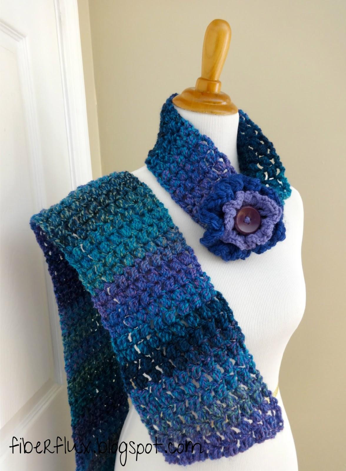 Fiber Flux Free Crochet Pattern Tweedy Puff Stitch Scarf