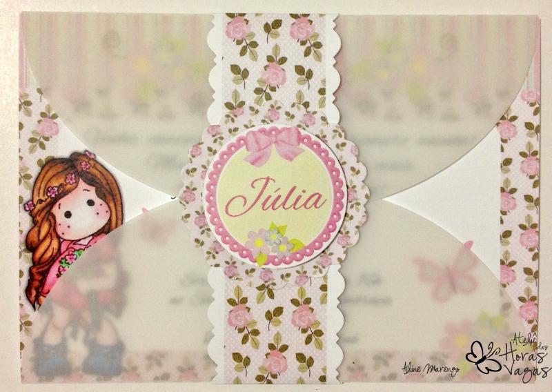 convite artesanal aniversário boneca no jardim encantado floral provençal passarinhos borboleta magnolia tilda