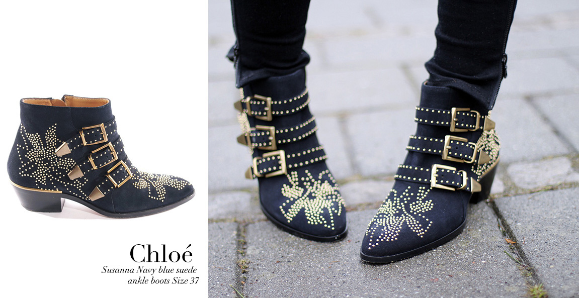 NEW in ! Les sublimes bottines CHLOE Susanna en daim bleu nuit et studs  dorés - The gorgeous Chloé Susanna navy blue suede studded boots 2871360253b