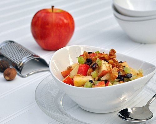 Healthy Waldorf Salad ♥ KitchenParade.com, my makeover recipe reduces calories & Weight Watchers points by almost 75%.