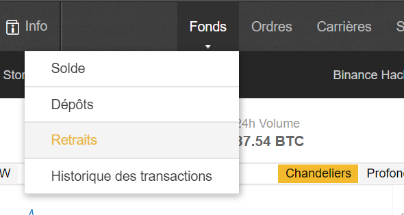 retrait fonds Binance