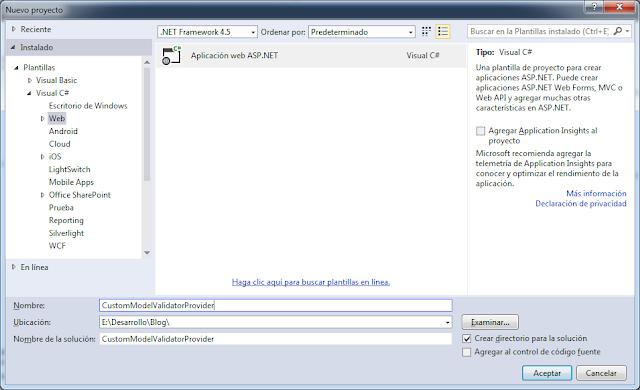 Crear proyecto CustomModelValidatorProvider