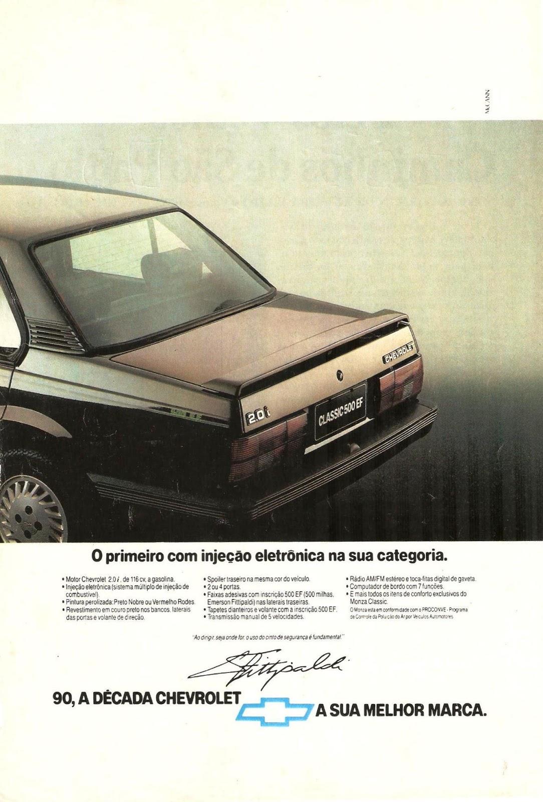 Campanha da Chevrolet apresentando a linha Classic SE do Monza em 1990