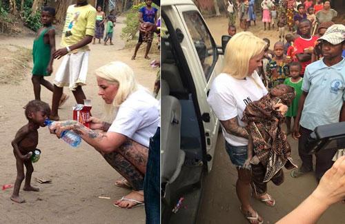 foto menyentuh bule cantik selamatkan bocah kelaparan