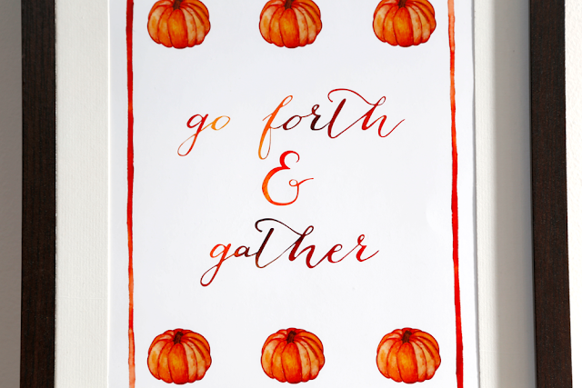 Go Forth & Gather Pumpkins Watercolour A4 Print, Autumn Decor, Wall Art, Typography Poster