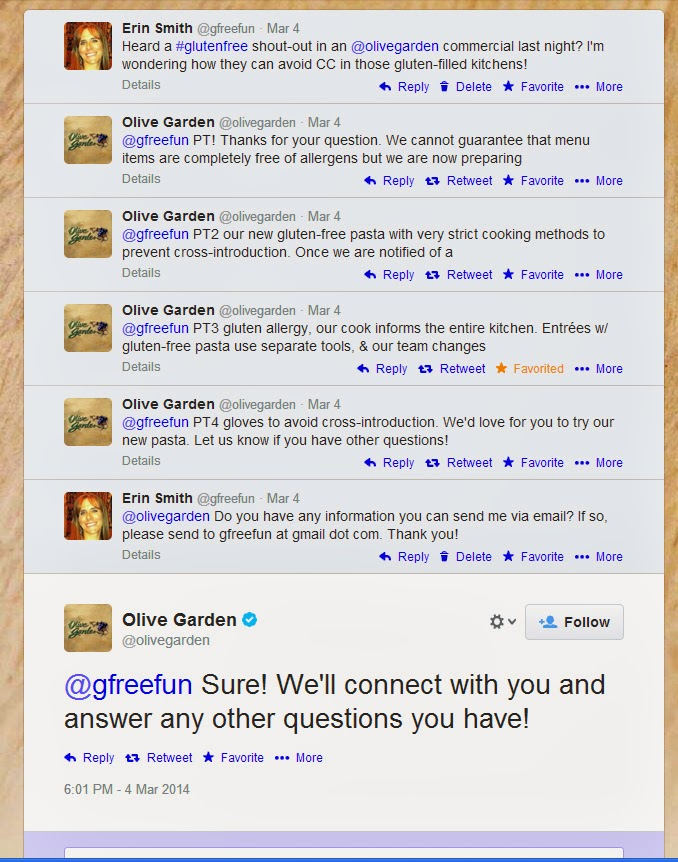 High Quality I Was Skeptical At First, Given The Enormous Amount Of Gluten In That  Place, So I Reached Out To The Source Via Twitter. I Appreciated The Olive  Gardenu0027s ...