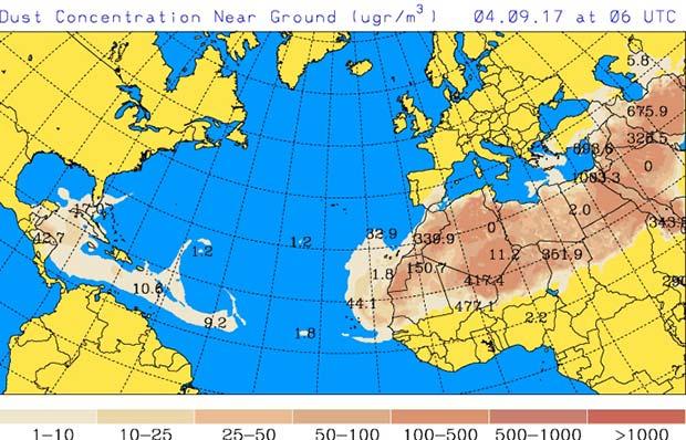 Hoy lunes, 4 septiembre, calima en Canarias