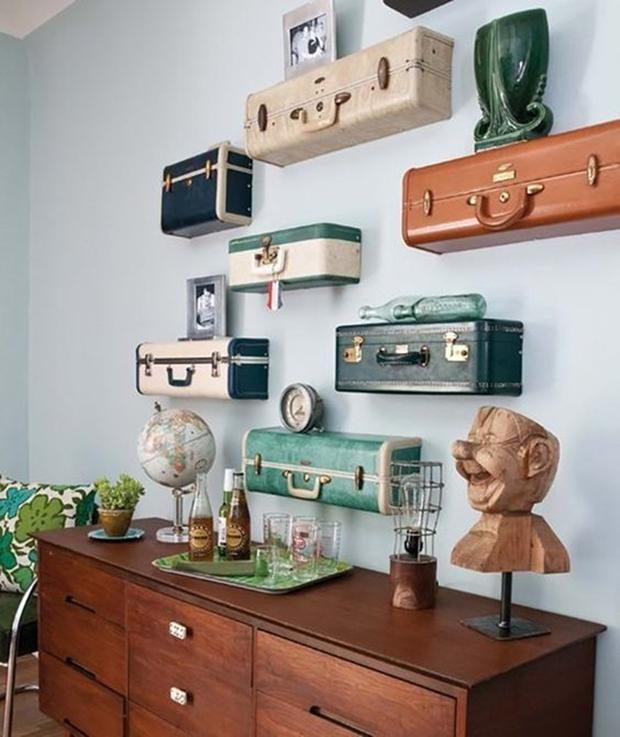 Malas e maletas antigas na decoração, decoração vintage e retrô