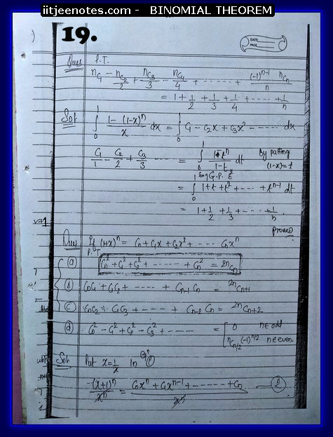 IITJEE Competiton Notes on Binomial Theorem10