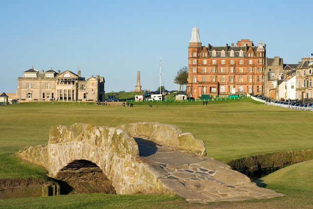 A picture of the famous Swilcan bridge on the 18th hole of the Old Course links in St Andrews, Scotland