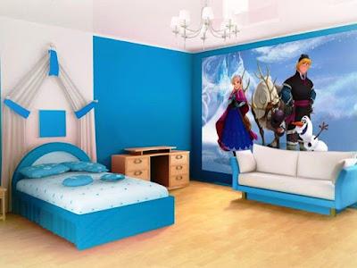 Contoh Gambar Wallpaper Dinding Kamar Tidur Anak Motif Frozen