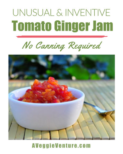 Tomato Ginger Jam ♥ AVeggieVenture.com, an unusual but delicious stovetop jam, no canning required.
