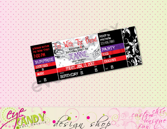 I'm with the band invite, rockstar birthday invite, rocker concert ticket invite
