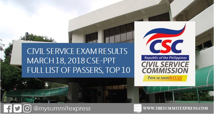 FULL RESULTS: March 18, 2018 civil service exam CSE-PPT passers list, top 10