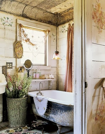 terrific shabby chic bathroom ideas | Burlap and Bananas: Shabby Chic Bathroom Decor~Guest Post!