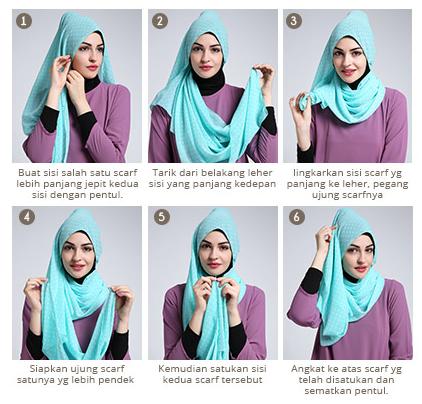 Gambar Tutorial Cara Memakai Hijab Segi Empat Modern ala Dewi Sandra ...