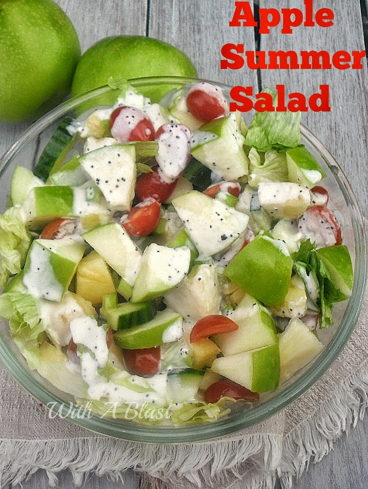 Apple Summer Salad ~ Refreshing salad with Apple, Pineapple and more ~ drizzled with a light Poppy Seed dressing #Salads #AppleSalad #PoppySeedDressing #LowFat