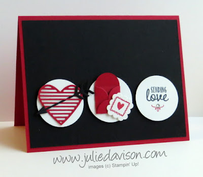 Stampin' Up! Sealed with Love Valentine Card -- Sending Love -- clean and simple layout with Love Notes die cuts #stampinup www.juliedavison.com