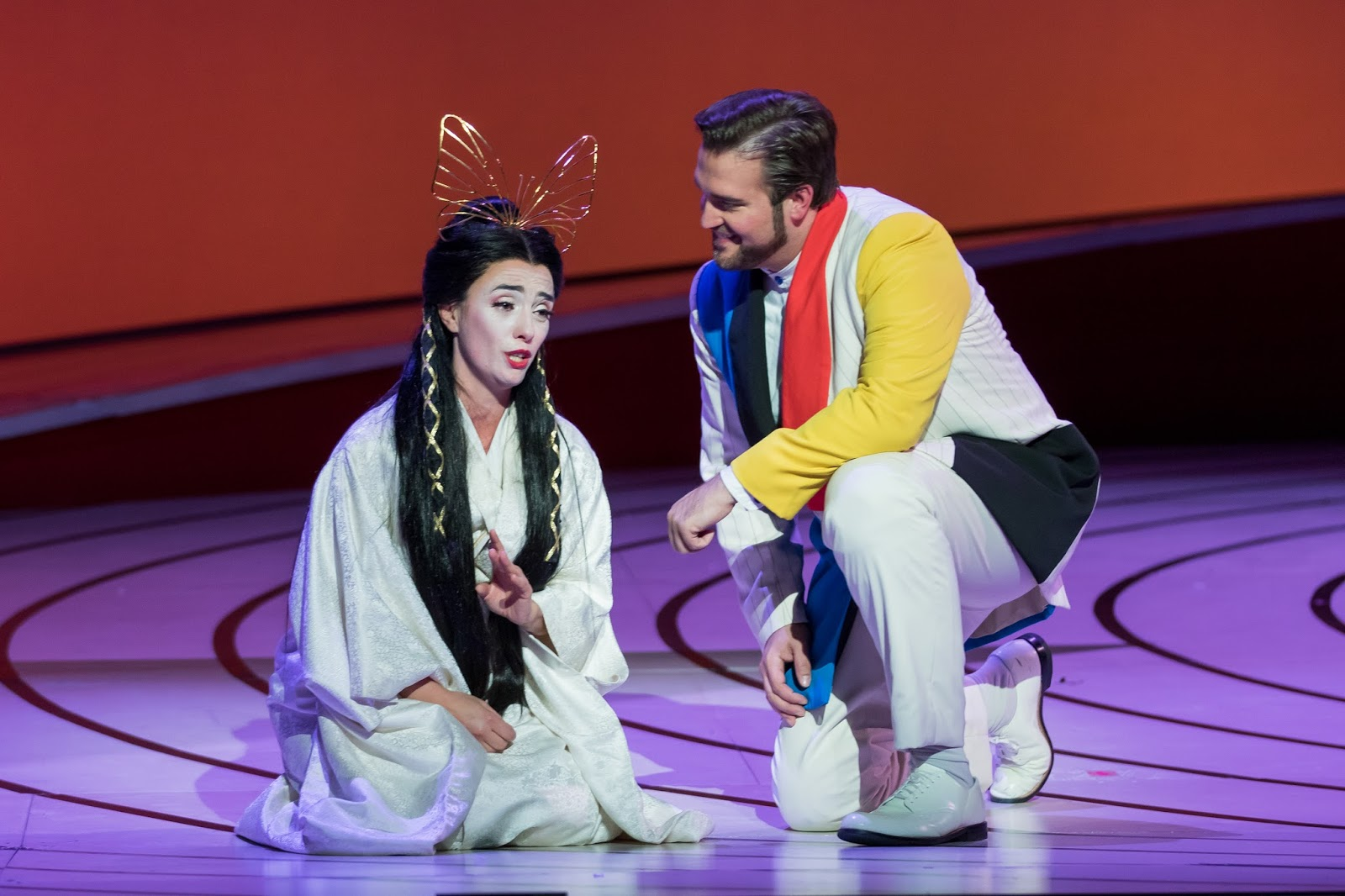 IN REVIEW: Soprano ERMONELA JAHO as Cio-Cio-San (left) and tenor BRIAN JAGDE as Benjamin Franklin Pinkerton (right) in Washington National Opera's production of Giacomo Puccini's MADAMA BUTTERFLY, May 2017 [Photo by Scott Suchman, © by Washington National Opera]