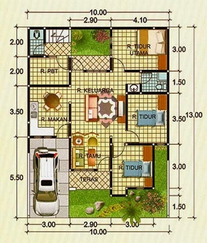 denah rumah minimalis tipe 90 modern