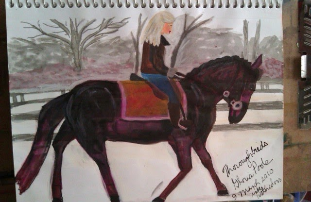 """Thoroughbreds"" sketch by Gloria Poole of Missouri and Georgia; yr 2010"