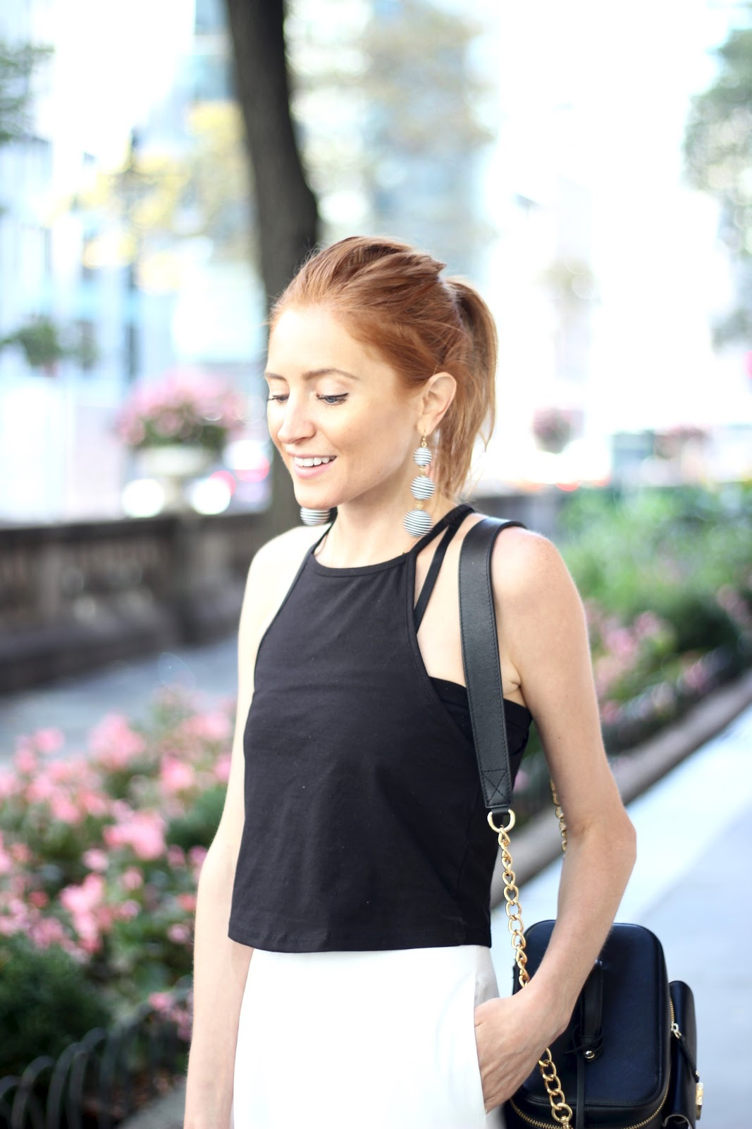 White Culotte Jumpsuit, Black, Austin drop earrings, The IT black camera bag, Old Navy sandals, NYC blogger, Bryant Park