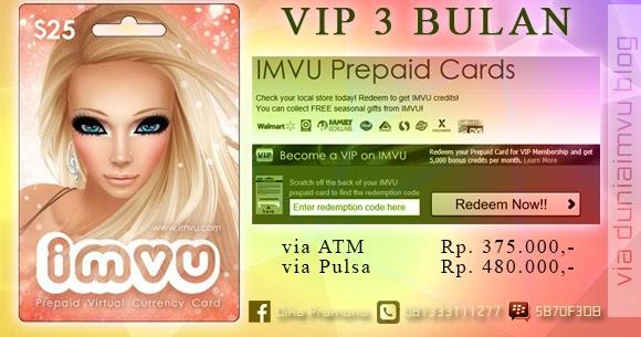 Jual Prepaid Card Vip 3 Bulan Imvu Dunia Imvu