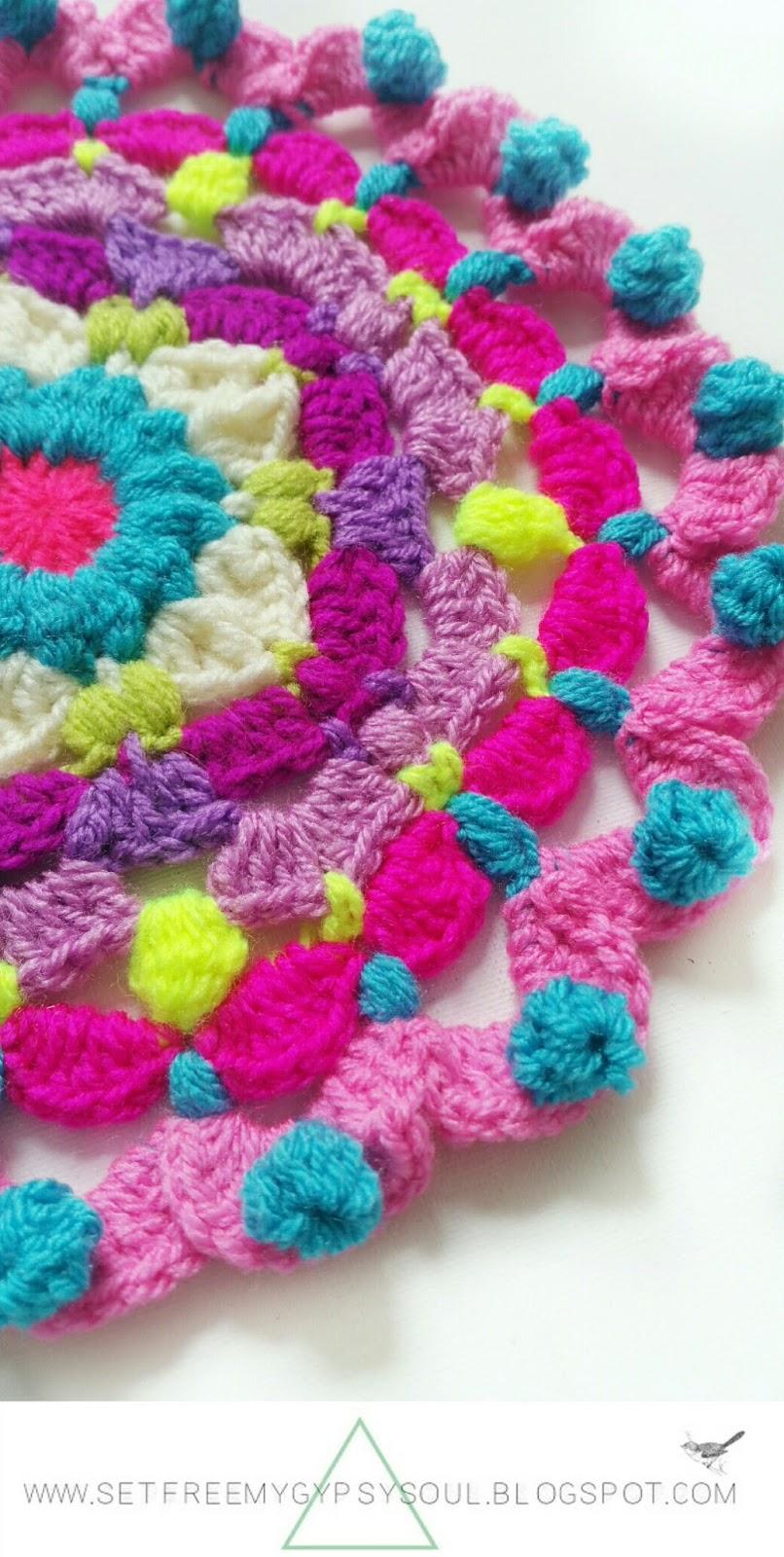 free crochet pattern mandala doily doilie flower hippie boho peggy pink