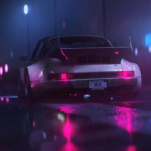 Retro Porsche In Rain Wallpaper Engine