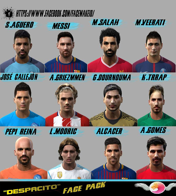 Ultigamerz Pes 2010 Pes 2011 Face: Ultigamerz: PES 2010 / PES 2011 Despacito Face-Pack 2017-18