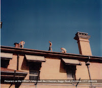Prisoners protesting on roof of Officer's Mess, No.2 Division, Boggo Road Gaol, Brisbane, Christmas 1977.