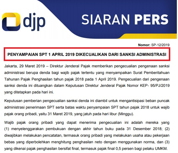 Lapor SPT OP 01 April 2019 Tidak Didenda, Berikut Kriterianya