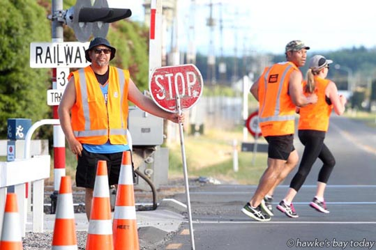 Cheyenne Walsh, Fulton Hogan, volunteer marshall, Elwood Rd, Hastings - Megawalk for Canteen, from Mitre 10 Mega, Hastings to Mitre 10 Mega, Napier. photograph