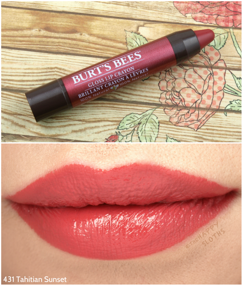 Burt's Bees Gloss Lip Crayon in 431 Tahitian Sunset: Review and Swatches