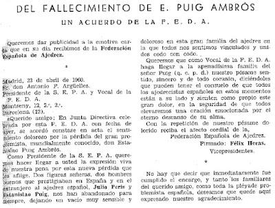 Nota sobre el fallecimiento de Estanislau Puig Ambrós