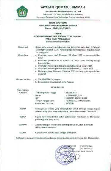 Contoh Sk Pengangkatan Kepala Sekolah : contoh, pengangkatan, kepala, sekolah, Contoh, Pengangkatan, Kepala, Sekolah, Yayasan, Dapatkan
