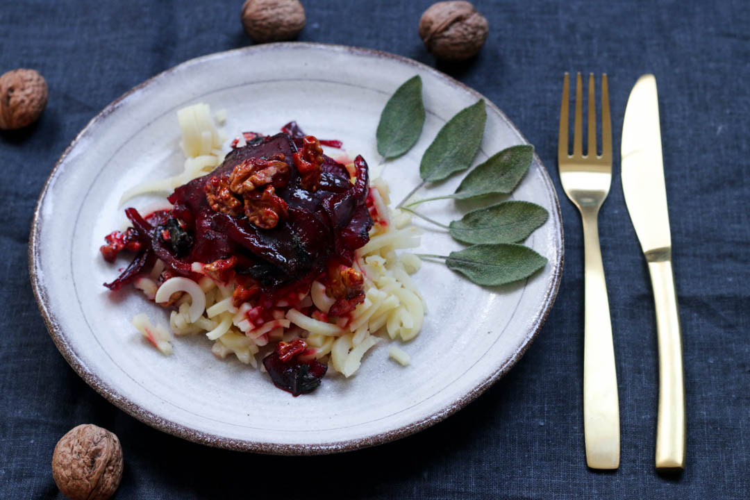 Karamellisierte Rote Beete, Pastinaken, Nudeln, Rote Beete, Winterküche, Fleurcoquet