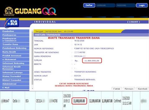 Selamat Kepada Member Setia GudangQQ WD sebesar Rp. 11,000,000.-