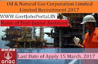 Oil and Natural Gas Corporation Limited Recruitment 2017–Junior Assistant Operators, Junior Roustabou