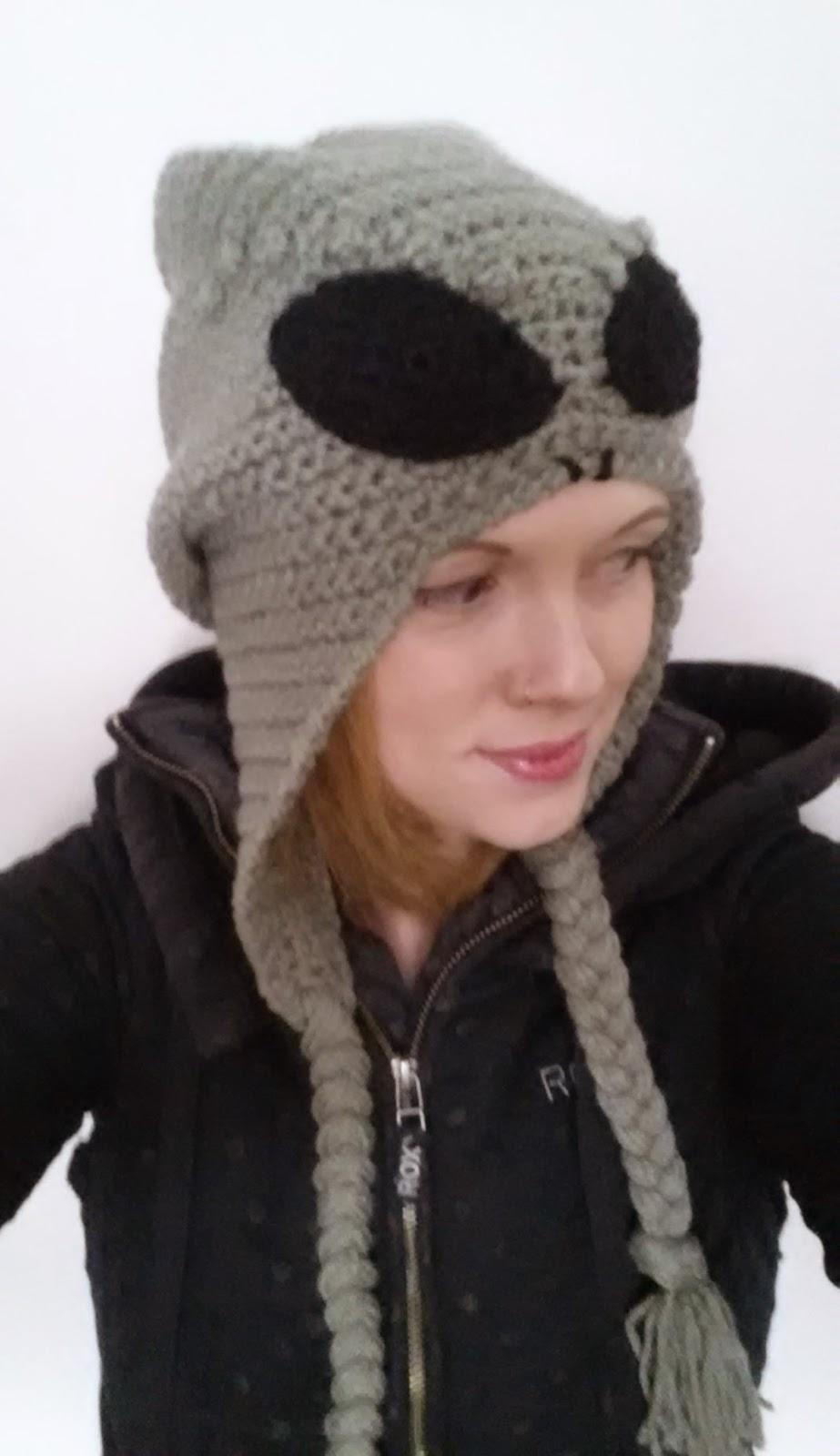 Quot The Greys Quot Alien Slouchy Earflap Hat Free Crochet Pattern