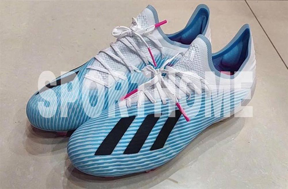 124237949449 This is the next-gen Adidas X 19.1 in the light blue, white and black 'Hard  Wired' August colorway.