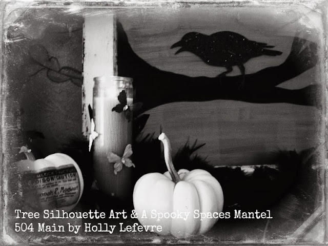 tree silhouette art and mantel by 504 Main