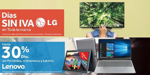 Top 10 ofertas promociones Días sin IVA LG y Hasta -30% en Lenovo de Worten